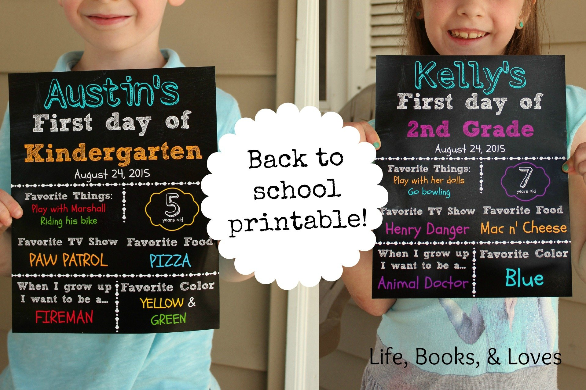 First Day Back To School Printables!