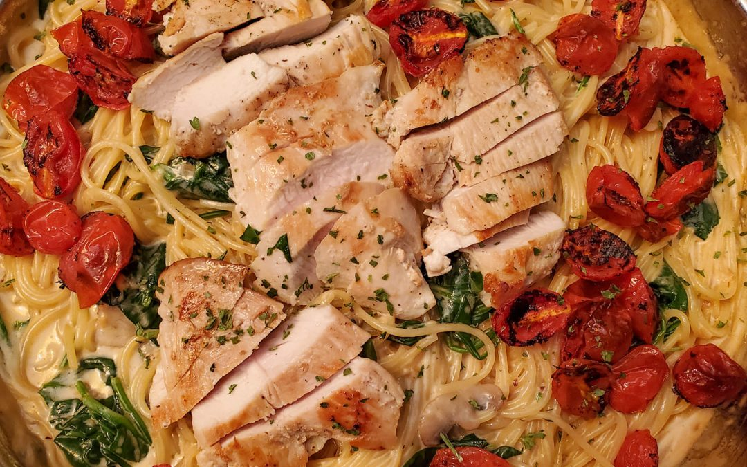 Chicken and Roasted Tomato Parmesan Spaghetti